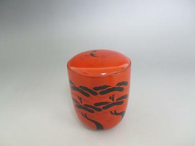 Japanese wooden lacquered tea caddy Natsume/ Akebono-natsume/ 4733