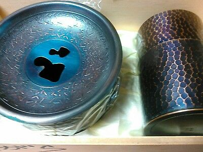Unused Vintage Japanese enamel ware bronze metal tea set canister in wood box