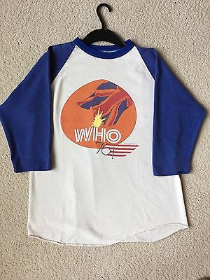Vintage -THE WHO- 1976 Tour Shirt with 3/4 length Blue Sleeves! --RARE