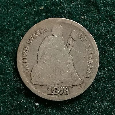 1876 S Seated Liberty 10c Dime 90% Silver