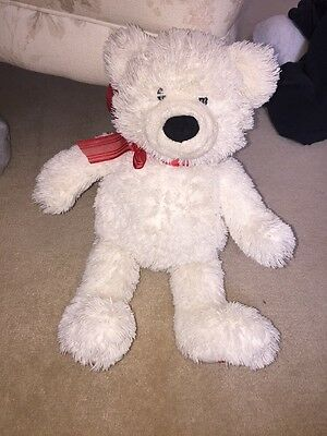 White Teddy Bear With Red Heart On Paw, Red Bow Around Kneck,Excellent Condition