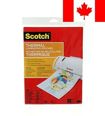 Scotch Thermal Laminating Pouches, Assorted Pack, 25 Pouches Per Pack, (TP-AS...