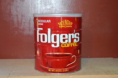 Folgers 3 lb Coffee Can Vintage Tin with Lid Excellent Shape
