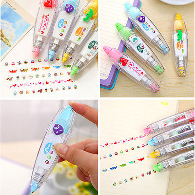 Cute 4 Pattern Decorative Correction Tape Roller DIY Gift Card Random Color