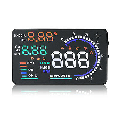 IC Car HUD Head Up Display OBD II 2 Speed Warning System Fuel Consumption 5.5""
