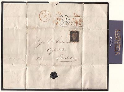 MS2065 1840 GB PENNY BLACK Complete *Early Mourning Lettersheet* Hastings Sussex