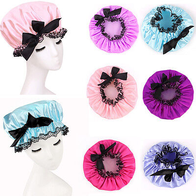 Women Lady Waterproof Protect Hair Bath Shower Cap Care SalonBowknot Lace Hat