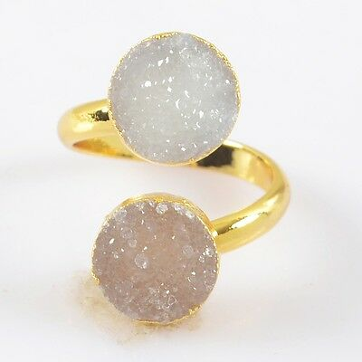 Size 6 Natural Agate Druzy Geode Adjustable Ring Gold Plated T025064