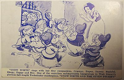 1938 Walt Disney Snow White and the Seven Dwarfs Premier Advertising Post Card