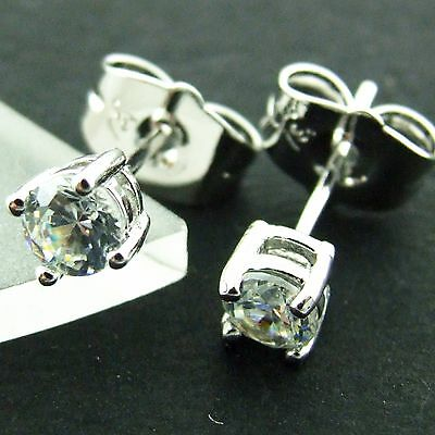 An513 Genuine Real 18K White G/f Gold Solid Diamond Simulated Stud Earrings