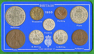 1950 George VI 9-Coin Type Year Set On Card ( Halfcrown - Farthing )