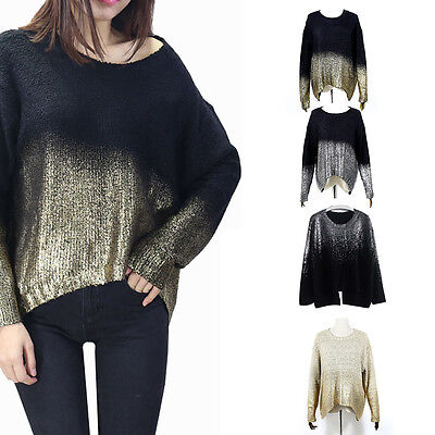 Elegant Women Clothes Tops Long Sleeve Gilding Loose Knitted Ladies Sweater