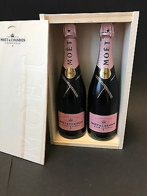 2x Moet Chandon Imperial Rose Champagner Flasche 0,75l 12% Vol + Holzkiste OHK