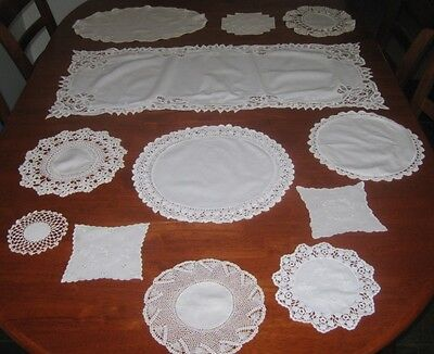 Vintage Cotton/lace Edged Table Runner & Doilies ~ White+Cream ~ 12 Pieces