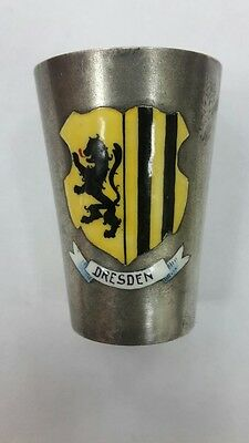 R Rare collectible German 800 silver cup with enamel DRESDEN