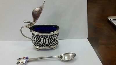RR Rare British silver mustard pot with a spoon 19th -20th century