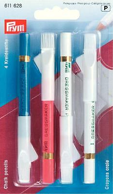 PRYM Pack of 4 Chalk Pencils with Erasing Brush 611 628