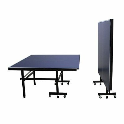 Indoor Outdoor Table Tennis Ping Pong Table Blue Full Size Foldable With Wheel