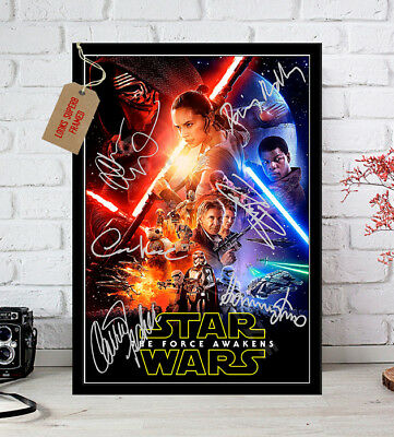 Star Wars The Force Awakens Cast Autographed Signed Movie Print