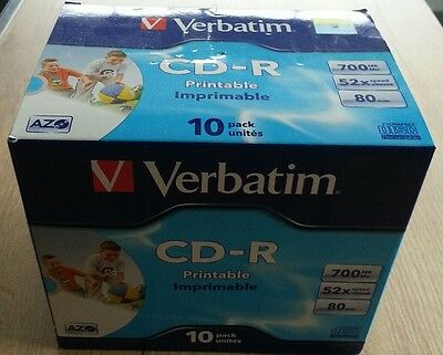 Verbatim lot de 2 × 10 CD imprimable 700 MB Mo 80 min 52x vitesse