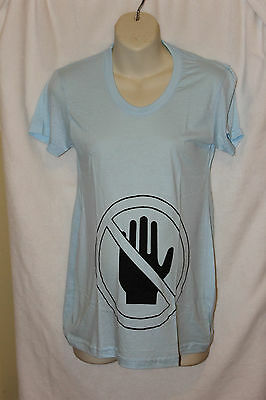 New Ladies Funny Saying Tops T-Shirt Maternity Dont Touch Size L Blue Clearance