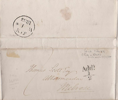 1832-33 Add!½d CANCEL ON WRAPPER MAILED TO THOMAS SCOTT AT MELROSE SCOTLAND