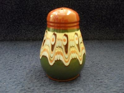 Vintage Retro Ceramic Pepper Pot Green And Brown Patterned Pepper Pot