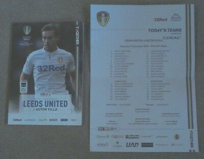 Leeds United v Aston Villa Programme 2016-2017 + Official Teamsheet