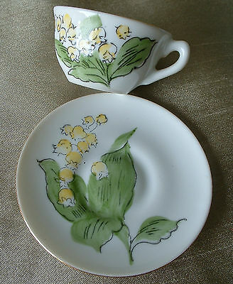 Miniature Porcelain/china Cup & Saucer,hand Painted Lillies Of The Valley.beauty