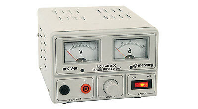 Regulated Power Supply with Variable Output Voltage 0-20V/2A Max Analog Display