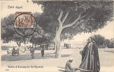 CPA EGYPTE CAIRO STATION OF TRAMWAY FOR THE PYRAMIDS  (dos non divisé) (scan rec