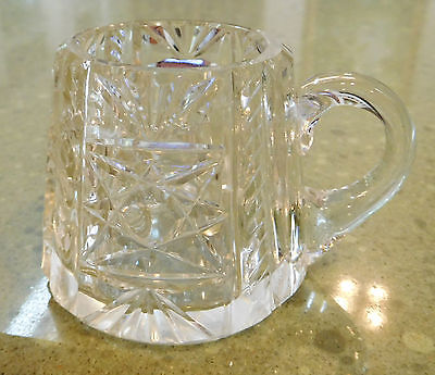 TOOTHPICK HOLDER Crystal or Cut GLASS with DESIGN & HANDLE Clear Vintage Vtg
