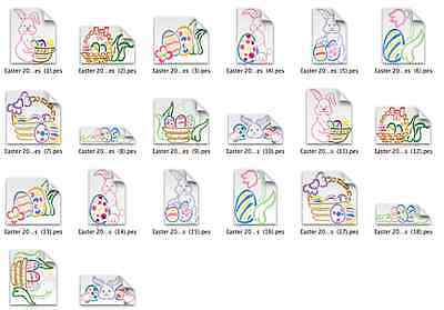 Easter Theme Outlines Brother Machine Embroidery Designs PES CD,USB