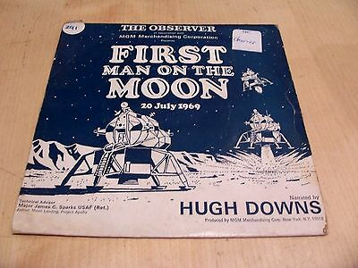 "Rare 1969 FIRST MAN ON THE MOON Special 7"" Vinyl Record HUGH DOWNS Observer NASA"