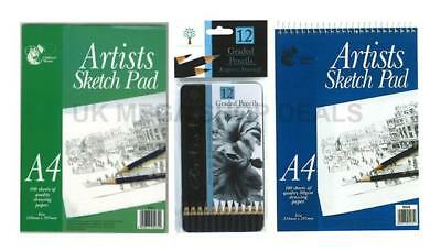 A4 Artist Sketch Drawing Book Pad Wiro 80 Sheets 80gsm Sketching Graded Pencils