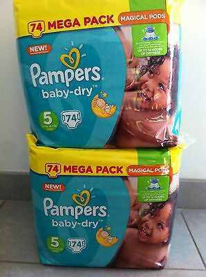 148 couches (2x74)  Pampers baby-dry taille 5