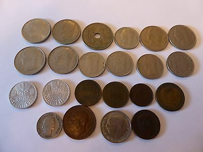 22 European coins, to include a rare 1888 Greek 5 Drachma, bulk lot.