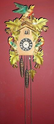 Vintage Cuckoo Clock Paimed Birds & Leaves Fix Up Or Parts
