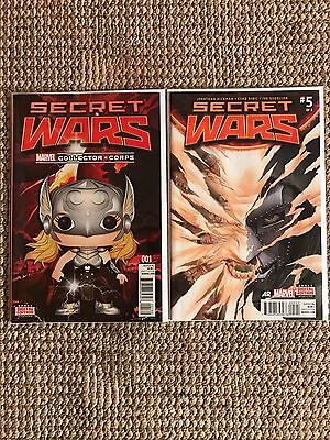 Marvel Secret Wars #1 Variant & #5 Bagged & Boarded NM Condition