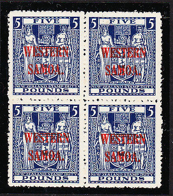 SAMOA 1945-53 £5 INDIGO-BLUE IN BLOCK OF FOUR SG 214w MINT/ MNH.
