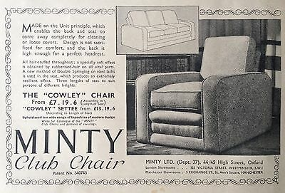Vintage 1937 Uk Ad(Uk6)~Minty Club Chair, High Street, Oxford