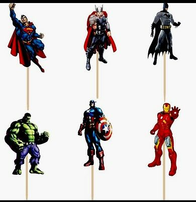 12 X Avengers Cake Picks,Cupcake Toppers Boy Birthday Party Decoration Superhero