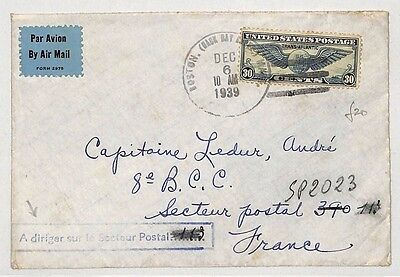I393 1939 United States to France by Air Mail, Addressed to a French Captain