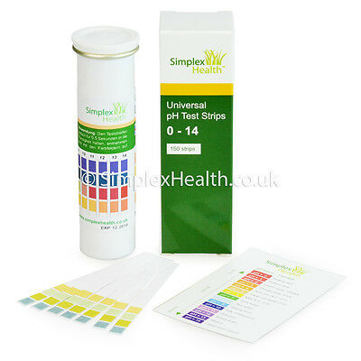 Water pH Test Strips Range 0-14 (150 Strips) testing strips by Simplex Health