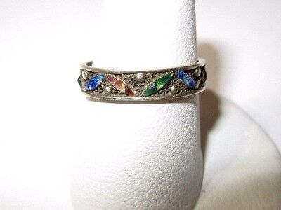 Thin Filigree Band Blue Green Enamel Leaves Marked Silver Vintage Size 7.25
