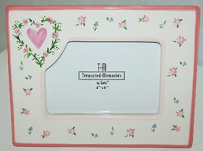 Ganz Brand Treasured Memories Collection 4x6 Picture Frame Pink White  Flowers