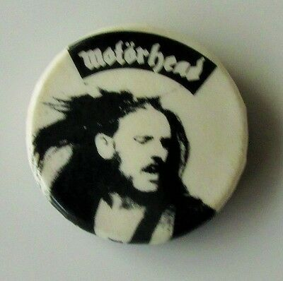 MOTORHEAD LEMMY B&W OLD METAL BUTTON BADGE FROM THE 1970's / 80's OVERKILL
