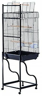 """58"""" Bird Large Cage Metal w/ Wheels stand Parrot Finch Pet Supplies Tray Black"""