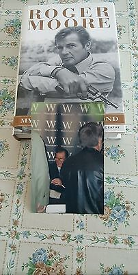 Roger Moore Signed Book With Photo From Event