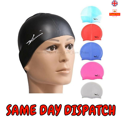 Swimming Swim Cap Hat Girls Boys Childrens Kids Junior Adults Unisex Silicone UK